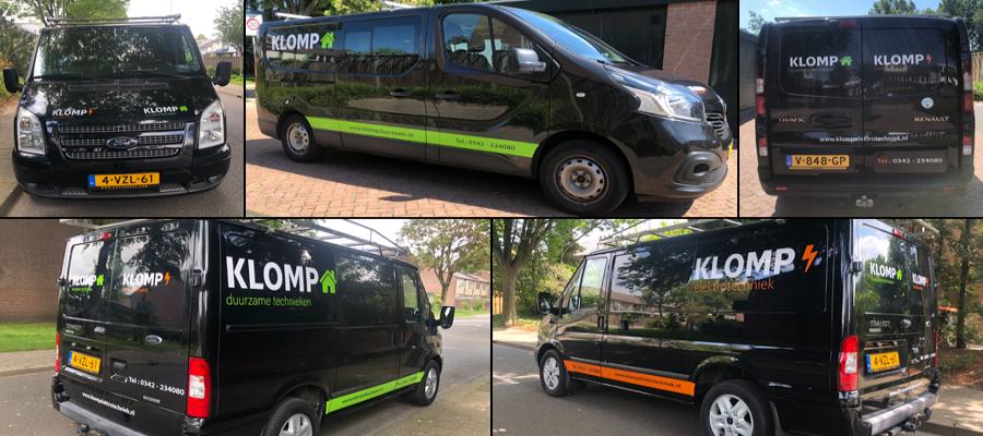 Meerdere voertuigen met meerdere gezichten voor Klomp elektrotechniek en duurzame technieken door van Veldhuizen Reclame