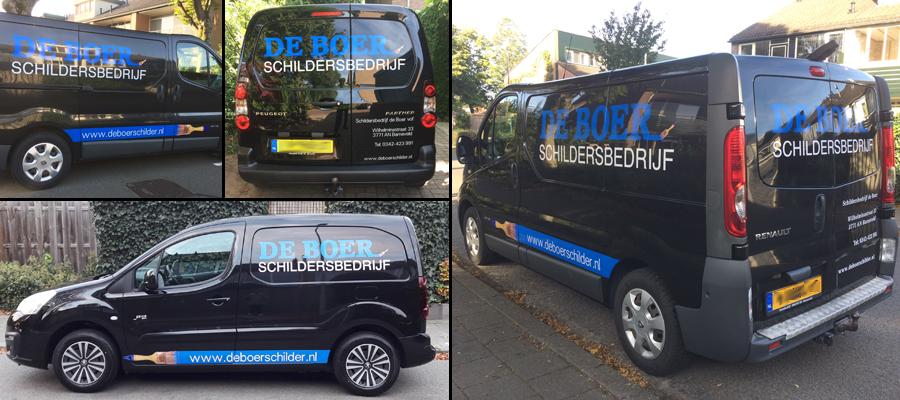 Wat hebben de mannen van van Veldhuizen Reclame er een (schilderachtige) plaatjes van gemaakt op de voertuigen van de Boer Schildersbedrijf.