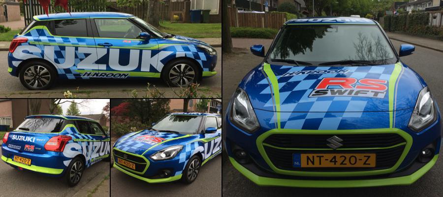 Kijk een zo maken we bij van Veldhuizen Reclame van een sportieve Suzuki Kroon auto een racewagen!