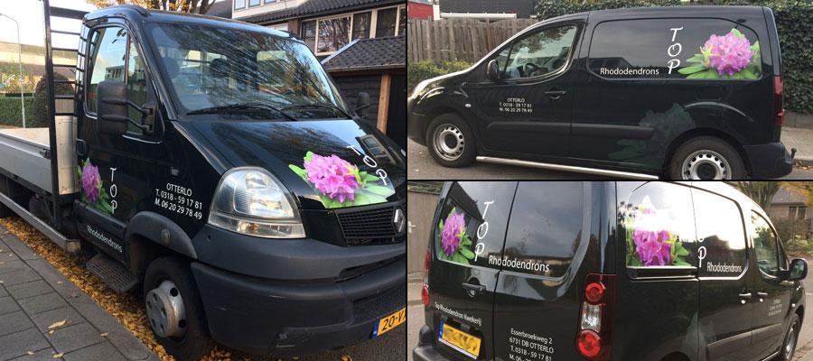 bloemen van Top  Rhodondendrons maken de dag een stuk mooier, van Veldhuizen Reclame maakt deze voertuigen veel mooier!