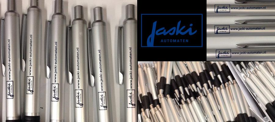 Jaski automaten (tampon) bedrukking pennen door van Veldhuizen Reclame