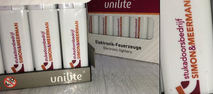 Simon & Meerman Stukadoors (tampon) bedrukte aanstekers door van Veldhuizen Reclame.