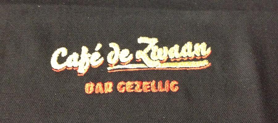 Multi kleur geborduurde borst logo's op hoodie vesten en sweaters door van Veldhuizen Reclame.